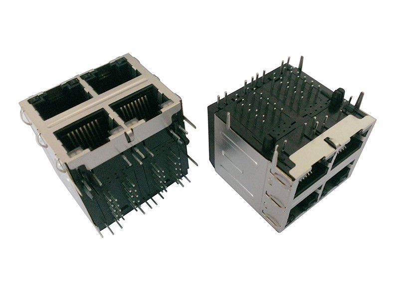 Female 2x2 RJ45 Modular LAN Jacks PA46 Plastic 1 - 1.5A Current Rating